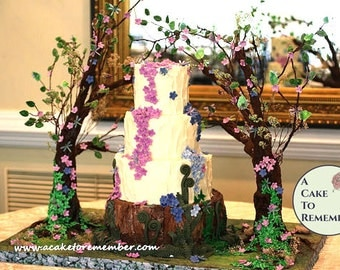 Enchanted Forest Wedding Cake Stand Tutorial- PDF download. Sugar craft tutorial for cake decorating, enchanted forest wedding cake