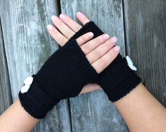 Fingerless Gloves, Womens Gift, Gloves with Bow, Wrist Warmers, Texting Gloves, Womens Gift, Gifts for Her
