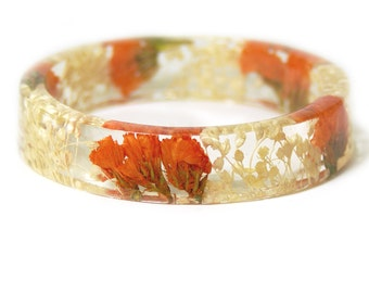 Bracelet - Jewelry with Real Flowers- Dried Flowers- Orange Bracelet - Cream Dried Flowers- peach Bracelet- Resin Jewelry