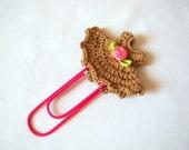 Crochet dress bookmark office gift ideas crochet heart small gift ideas thank you gift ideas teacher gift ideas paper clip brown gift