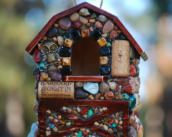 Outdoor Mosaic Birdhouse Garden barn owl and Stones up-cycled natural birdhouse bird lovers outdoor decor barn farm house wine lover