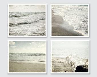 Beach Decor Set, Ocean Art Print or Canvas Art Set, Beach Landscape Photography, Set of 4 Prints, Neutral Peaceful Soothing Grey Mint Beige.