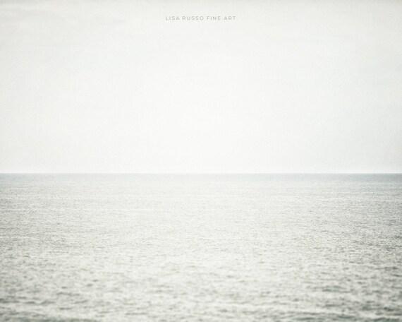 Minimalist Grey Beach Print or Canvas Wrap, Modern Beach Decor, Silver Grey Wall Art, Pastel Grey Ocean Art, Minimalist, Monochromatic.