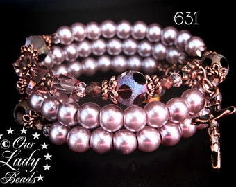 Rosary Bracelet Wrap,Wrist Rosary,Mauve Glass Pearls,Catholic Bracelet,Religious Jewelry,Mother's Day,Confirmation,Bridal,Godmother,631