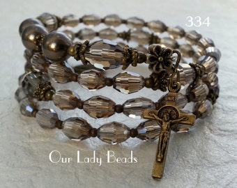 Crystal Rosary Wrap Bracelet,Rosary,Rosary Bracelet,Religious Jewelry,Catholic Jewelry,Confirmation,Bridal,by Our Lady Beads,#334