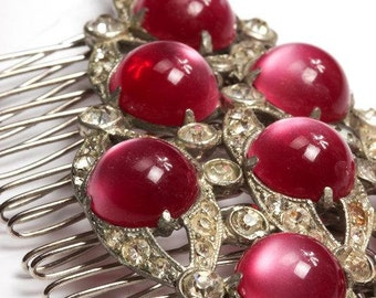 Pink Art Deco Large Hair Comb - Cabochons with Rhinestones - Diamond Shape - One of a Kind - Handcrafted - 1000202