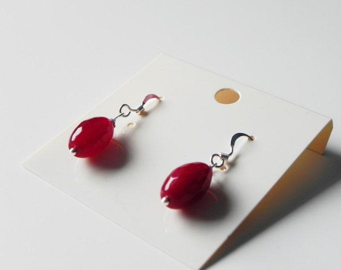 Red dyed quartz gemstone drop sterling silver earrings