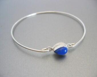 LAPIS LAZULI TEARDROP bangle bracelet in a fancy setting