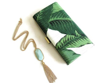 palm print clutch beverly hills hotel polo lounge palm print fabric martinique fabric martinique clutch  palm leaf clutch palm leaf print