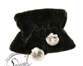 neckwarmer made in blacksynthetic fur, warm and very soft with pompon, fur collar, faux fur scarf black