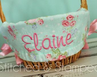 Personalized Easter Basket Liner - Aqua Floral Dot - Personalized with Name - Custom Basket Liner
