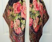 RALPH LAUREN Pink Garden ROSES Floral Black Silk Scarf Vintage 80's Never Worn Cabbage Roses