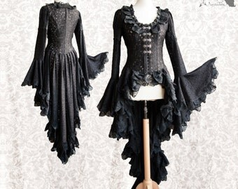 Victorian cardigan, Steampunk robe, black lace overcoat, Maeror, Somnia Romantica, size medium - large, see item details for measurements