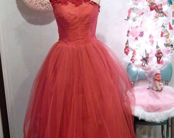 ON SALE Vintage Ball Gown - Red Dress - Vintage Red Dress - Tulle Dress - Full Skirt