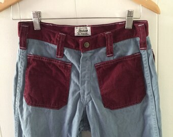 Vintage 1970s Original Madewell Bellbottom Pants Colored Pockets