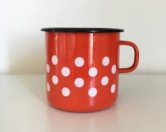 SALE Vintage Red Enamel Polka Dot Mug