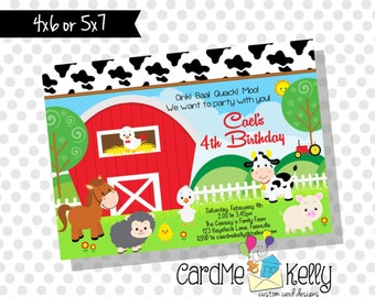 Printable Farm Tractor Animals Cow Pig Horse Duck Sheep Birthday Party Invitation - Digital File