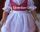 OOAK vintage fabric dirndl dress. Spring, flowers for 18 inch play dolls such as American Girl, Springfield, OG. Made in USA