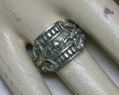 Antique Chinese Silver Ring, Floral & Butterfly Moth Motifs, Size 9 (adjustable)