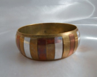 Brass Mixed Metal Copper Chunky Wide Vintage Bangle Estate Find Brass Copper Silverplate Bangle Bracelet Euro Modern Fashion Jewelry