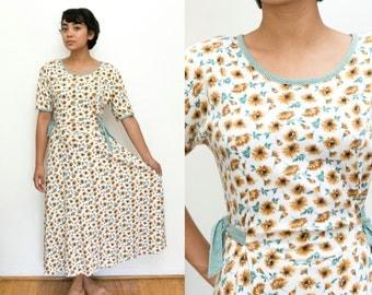 Maxi Sunflower Dress / 90s Floral Dress / Maxi Floral Print Long Dress / Short Sleeve Boho Bohemian Hippie / Sunflower Print Medium Womens