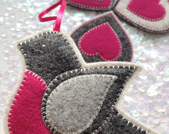 FELT BIRD ornaments - handcrafted from 100% wool felt - Valentine's decorations