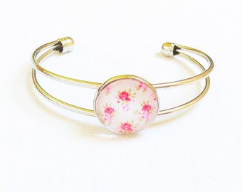 Silver plated glass cabochon bracelet ~ pink floral laura ashley style shabby chic pretty bracelet ~ unique wedding jewelry bridesmaid gift