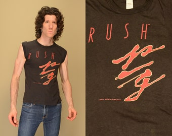 vintage Rush tour shirt Grace Under Pressure sleeveless tee shirt 80s rock tee 1980 rock tour t-shirt small S