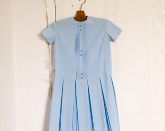 Vintage French women blue dress XS 1960s shift pleated A-line