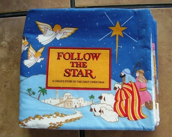 JFollow the Star Birth of Baby Jesus Quiet Soft Cloth Baby Toddler Story Book Handmade Ready to Read