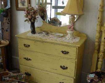 Vintage Dresser with Mirror Hand Painted Furniture Bedroom