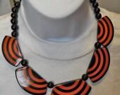 paris vintage massive art deco geometric bib dangling lucite necklace MARION GODART