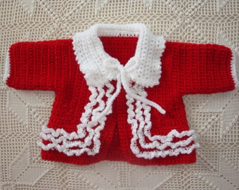 3-6 Month Crochet Red Sweater with White Collar and Ruffles