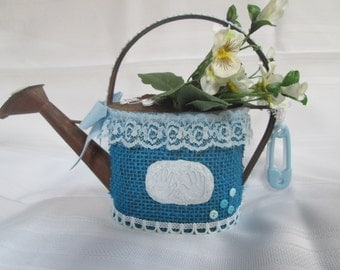Baby boy shower decor or new baby gift. Small rustic watering can decorated for baby boy shower. One of a kind baby boy gift  Shower accent