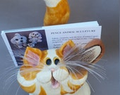 Orange and white cat card holder, orange tabby's, clay cats , hand made, hand sculpted, original by Pencepets, Pence animal sculptures