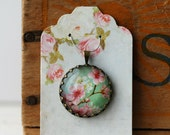"""Cherry Blossoms Vintage Inspired Brass and Glass Bubble Necklace (#56) - """"Rozie Series"""""""