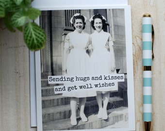 Card #351 - Sending Hugs And Kisses And Get Well Wishes - Blank Inside Get Well Greeting
