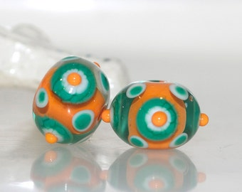 Green Orange and White Lampwork Glass Bead Pair