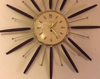 Atomic LUX Starburst Wall Clock Mid-Century Modern Sunburst Eames Era
