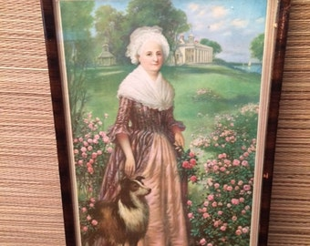 "Antique Martha Washington Print ""Lawn at Mount Vernon"" Dog Framed ART George"