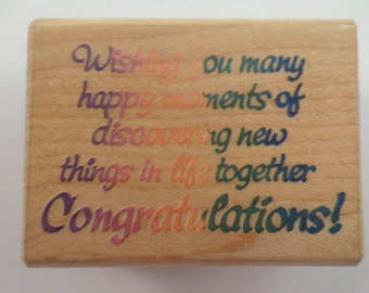 Stampendous Wedding Wishes And Congratulations Life Together Wooden Rubber Stamp
