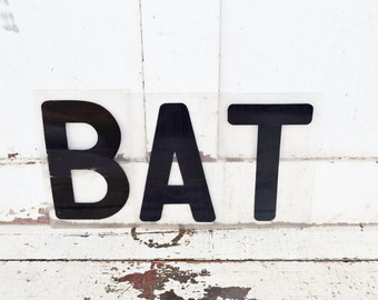 """Vintage BAT Sign Marquee Word 9"""" Letters Plastic Black Clear Acrylic Wall Window Spelling Halloween Party Decoration"""