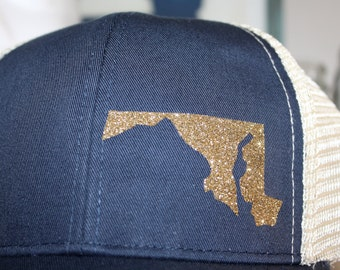 Maryland 'Sparkly State' Hat - Gold State - State Trucker Hat - Organic/ Recycled Material Hat