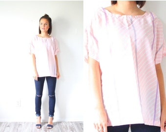 20% OFF BIRTHDAY SALE Vintage light pink striped blouse // boho pink blouse // striped chevron slouchy top // slouch shirt // boxy top // pi
