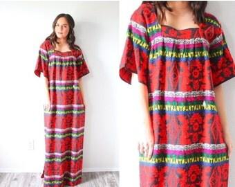 20% OFF VALENTINES SALE Vintage Boho  embroidered red dress // red short sleeve abstract navajo // tribal print summer dress // muumuu dress
