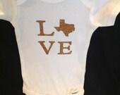 Texas size love custom baby onesie
