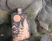 "Starry Night Forest ""Explore"" Mantra Necklace / Handcrafted Etched Copper Pendant"