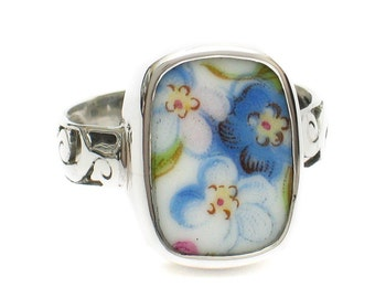 Size 10 Broken China Jewelry Blue Forget Me Not Flowers AA Sterling Ring