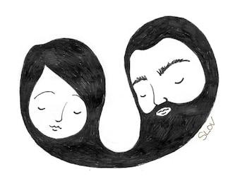 """Beard Love - 7""""x5"""" print"""