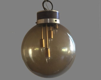 Vintage Orb Smoked Glass Pendant Light Fixture 1970s 70s